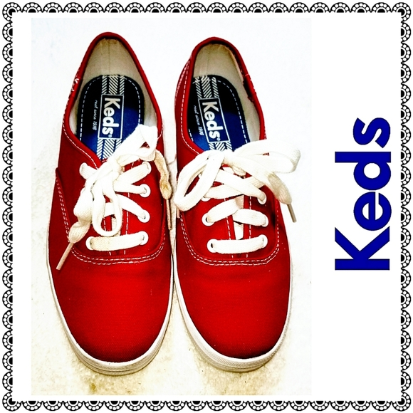 {Keds} red & white canvas sneakers, sz 5.5
